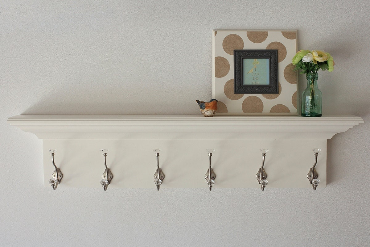 Wood Wall Shelves Floating Coat Rack White In Multiple