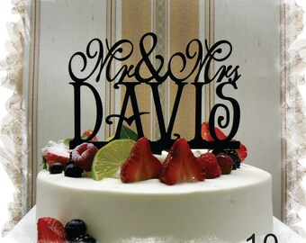 Customized Wedding Cake Topper, Personalized Cake Topper for Wedding, Custom Personalized Wedding Cake Topper, Last Name Cake Topper #10
