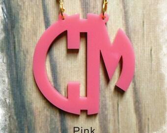 Two Initials Monogram Necklace - Circle Monogram Name Acrylic Monogram Jewelry
