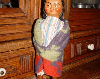 """Collectible 1950's 10"""" Skookum Doll w/ Camp blanket and boots"""