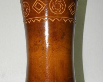 Vintage wooden vase with ornament, 1970