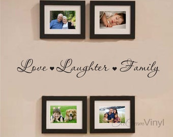Love Laughter Family Wall Decal for Family Photo Frame Collage Living Room Family Room Home Decor Vinyl Letters