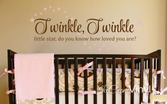 Twinkle Twinkle Little Star Wall Decal for Boys Girls Nursery Bedroom Playroom Vinyl Quote