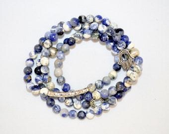 Sodalite Wrap Bracelet - Blue with hamsa