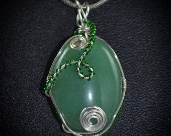 Green aventurine wire wrapped pendant