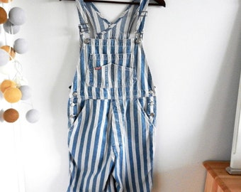 Vintage Blue Denim Overalls with White Stripes / Dungarees / Jean Pants / Baggy Romper