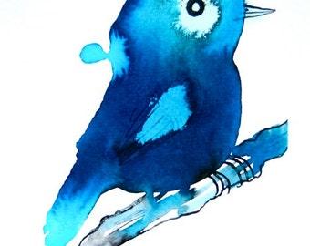 Blue wall art, original drawing, bird on a branch