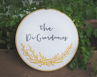 "Custom name, Wildflowers in gold,  7"" wood hoop cross stitch. Name & date or short phrase included"