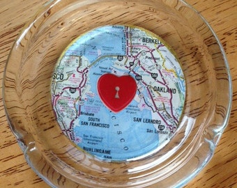 California Bay Area Love Glass Ashtray