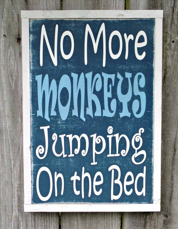 items similar to no more monkeys jumping on the bed wooden. Black Bedroom Furniture Sets. Home Design Ideas