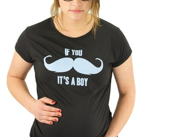 Mustache Maternity Top Moustache Maternity T-Shirt Maternity Clothing If You Mustache It's A Boy Bamboo Gender Reveal Pregnancy Announcement