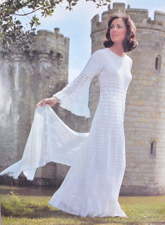 Pdf vintage crochet dress pattern crocheted wedding dress for Crochet wedding dress patterns