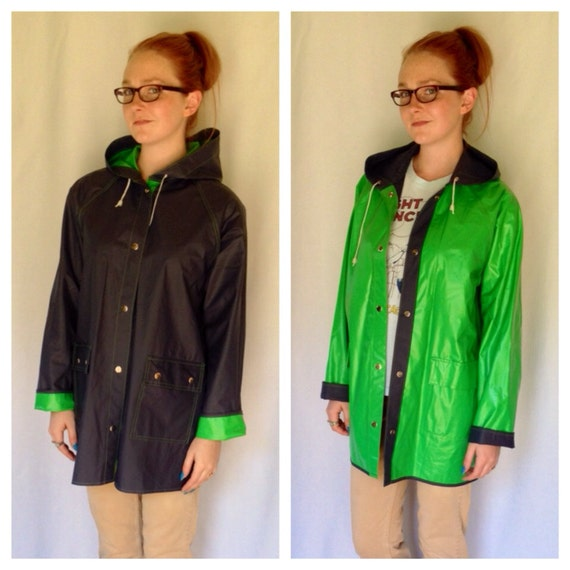 80s Reversible Rain Coat Kelly Green Rain Jacket Navy Blue