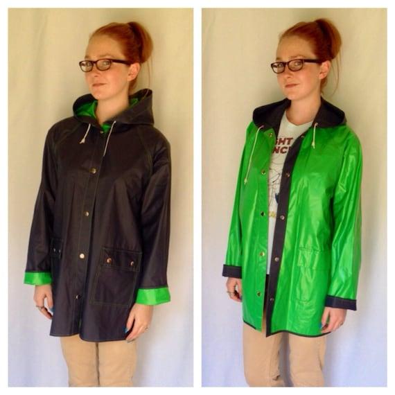 80s Reversible Rain Coat Kelly Green Rain by TigerStyleVintage