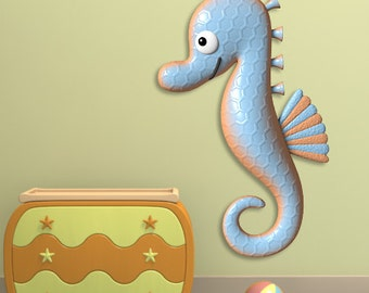 Wall decals sea horse A128 - Stickers hippocampe A128
