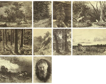 Shishkin, Pick from set, Russian painting, Soviet Postcards, Etching, Art, Soviet Union Postcard, USSR, Unused Postcards, Izogiz, 1959