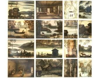 Landscapes of the Russian North, Set of 16 Soviet Vintage Postcards, Rural, Village, Illustration, Unused Postcards, Sokolov, USSR, 1979