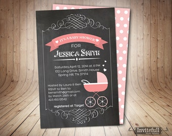 Baby Shower Invitation,Chalkboard baby shower invite,baby shower chalkboard,Girl Baby Shower Invitation in pink,Shower Printable