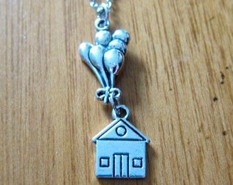 UP Inspired Necklace. Paradise Falls, house with balloons. Adventure Is Out There Necklace. Silver colored. *