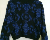 Cropped Tribal Printed Pullover Sweater