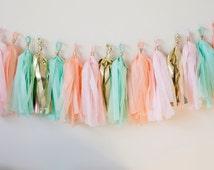 Peach, Pink, Mint, Gold Tassel Garland (15)