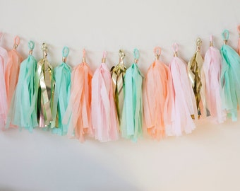 Peach, Pink, Mint, Gold Tassel Garland (15)