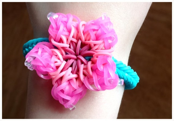 exotic hibiscus rainbow loom bracelet by
