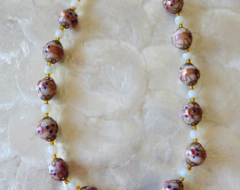 Vintage Hand Painted Beaded Necklace