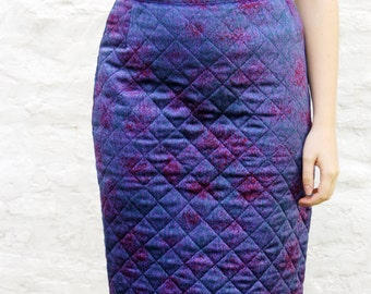 80s Quilted Paisley and Paint Splatter Pencil Skirt Size M