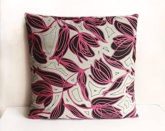Pink Black Grey Abstract Floral Print Cushion Throw Pillow Cover 16x16 or 18x18 inches