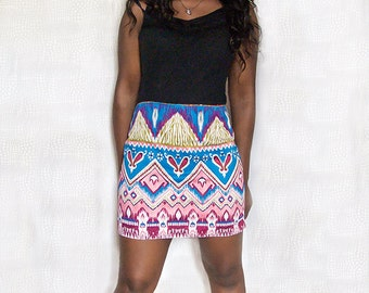 Pink Blue & White Tribal Aztec Print Short Mini Skirt - in 5 sizes