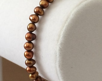Chocolate Pearl Bracelet With Sterling Silver Clasp 7 1/4""