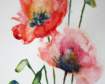 Poppies - Original Watercolor Painting, Red Flowers Watercolor Art 9 X 12 in