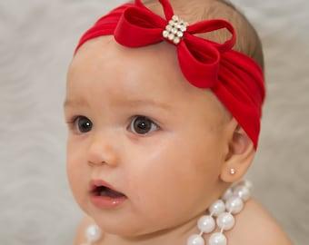 Baby Headband Headwrap, Red Bow Headband, Christmas Headband, Red Baby Bow, Newborn Headband, Baby Red Headband, Nylon Headband, 923