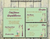 Printable Wedding Invitation PDF Set or Pick & Choose - Couple in Love in Mint Green (or Your Choice in Colors!)