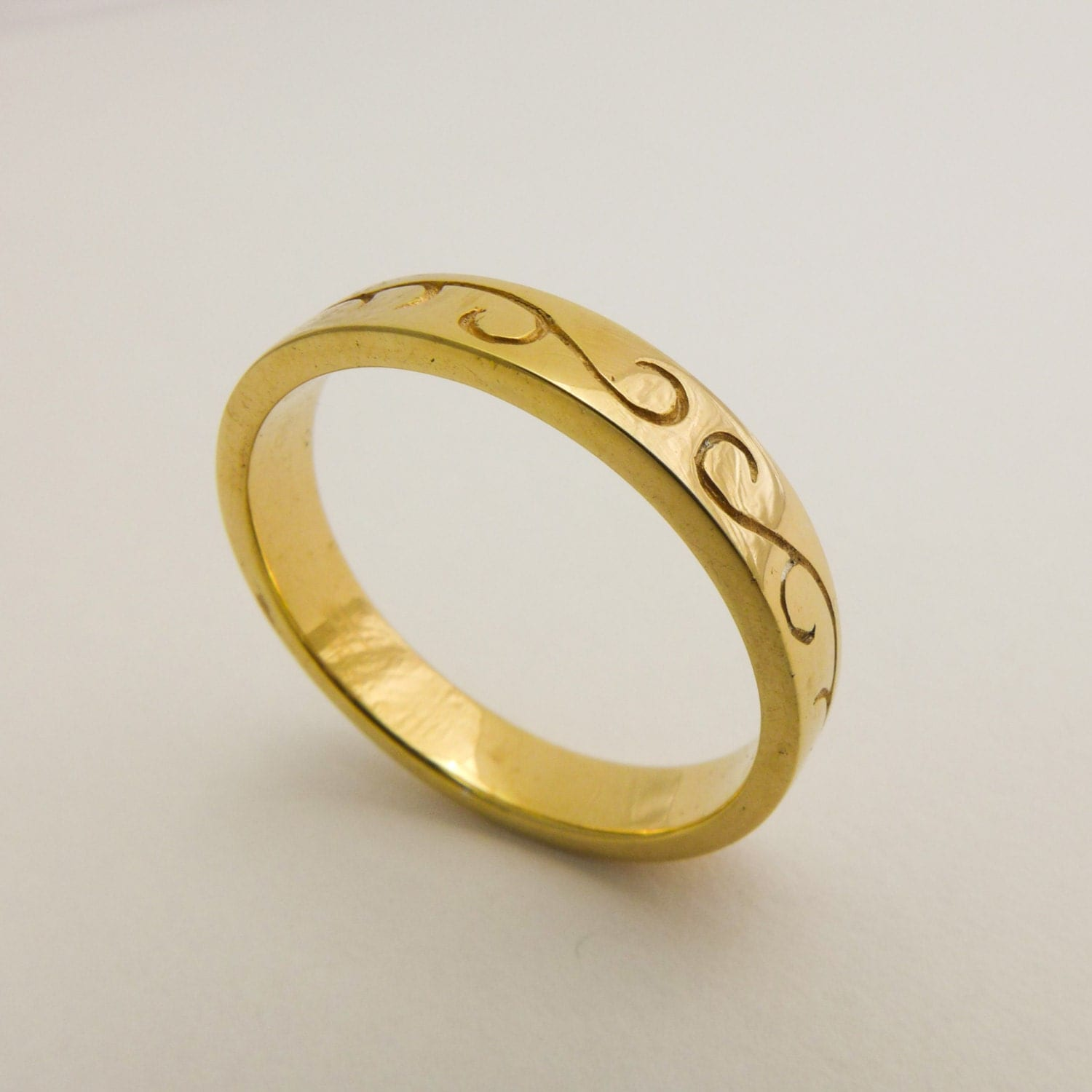 Simplistic Bands: Thin Wedding Ring Engraved Wedding Ring Simple Wedding Band