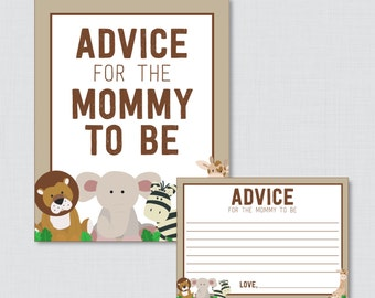 Advice for Mommy to Be Cards and Sign Safari Baby Shower Printable - Safari Advice for Mom To Be, Advice for New Parents - Safari