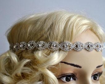 Rhinestone Tie on Headband headpiece, Prom Headband, Wedding Headband, ribbon headband, Bridal rhinestone head piece