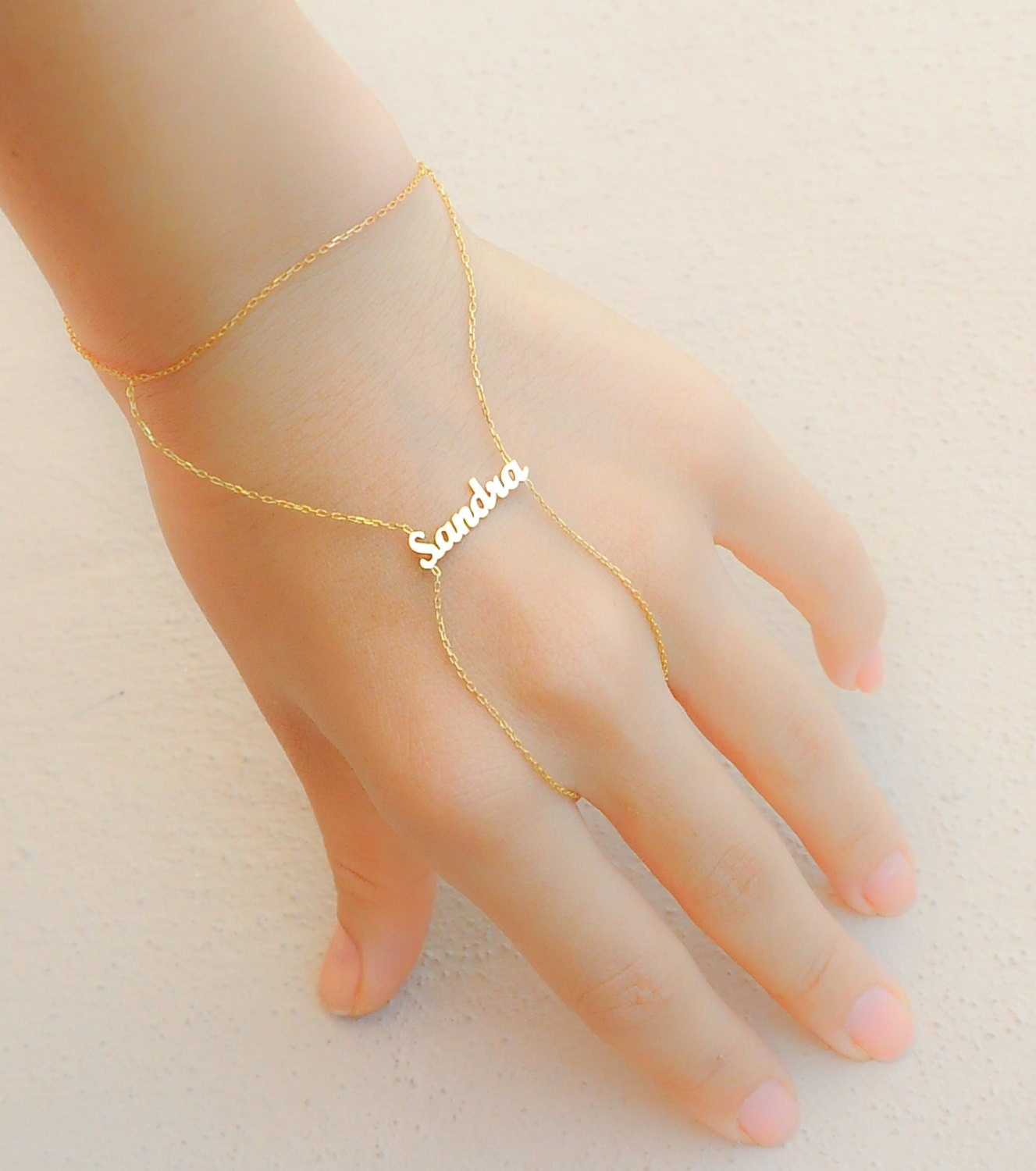 Personalized Name Bracelet Gold Hand Chain Slave by ...