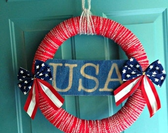 USA American Flag July 4th Wreath Independence day Burlap wreath Patriotic Fourth of july Front door wreaths Holiday wreath Patriotic wreath