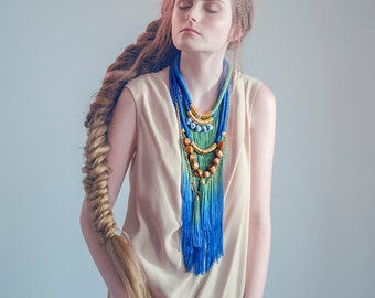Boho Long Necklace, Ombre Fringe Necklace, Fringe Statement Necklace, Bohemian Necklace