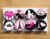 Paris Pink Chic Magnets ooh la la French poodle - Colorful- Set of 8 magnets - 1 inch each - wrapped in cello bag - Strong magnets