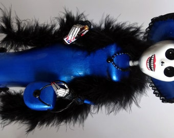 Metallic Blue Catrina, Handmade Dia de Los Muertos Day of the Dead