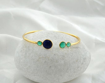 Lapis and Green Onyx Gemstone Bangle Bracelets- Gold Plated 925 Sterling Silver Bezel Bangle Jewelry #1289