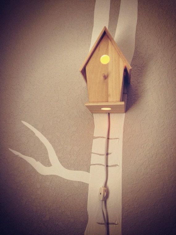 Bird house night light woodland nursery classic natural - Birdhouse nightlight ...
