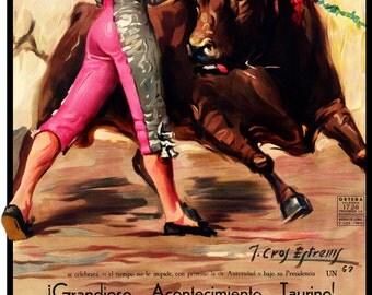 """Bullfighting - Plaza De Toros De Vista Alegre #1 Canvas Art Poster 12""""x 24"""