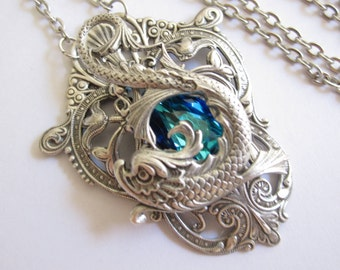 Pisces - Swarovski Necklace - Filigree Necklace - Fantasy Necklace - Bridal Jewelry - Art nouveau jewelry - GOT Jewelry - Bridal