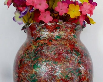 Multicolored spongepainted glass vase, ruffle top metallic sponge painted/hand painted glass vase, red and green glass vase, 7