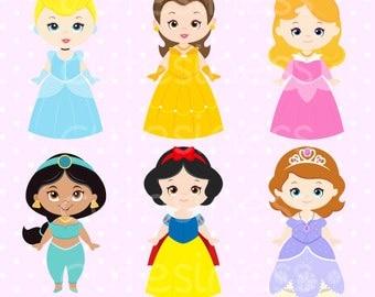 Princess Clipart, Cute Princess Digital Clipart, Princess Clip Art, Cute Princess Clipart