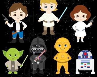 Star Wars Digital clipart, Star Wars Clipart, Star Wars Clip Art, Superhero Clipart
